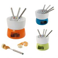 Ceramic Fondue Set with Metal Base